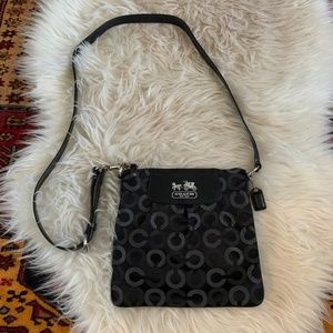Authentic Coach Crossbody in Black and Gray